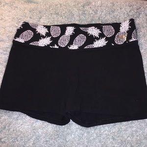 Vs Pink yoga booty shorts w/ pineapple & dog waist